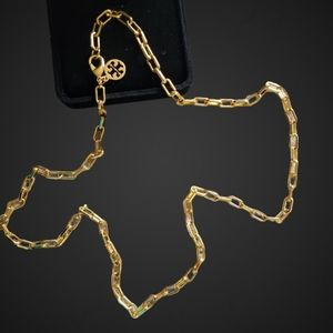 TORY BURCH GOLD TONE LONG CHAIN LINK NECKLACE